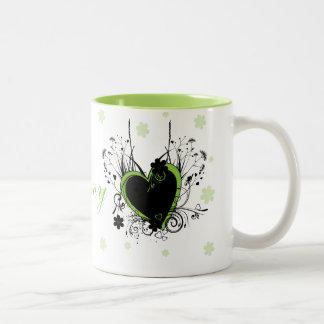 Blanco verde del corazón tazas