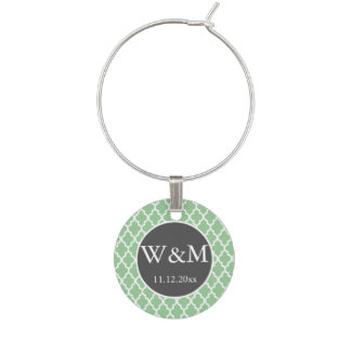 Blanco verde gris del boda con monograma de Quatre Identificador De Copa