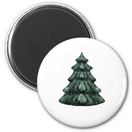 Blanco verde OL del árbol de navidad el MUSEO Zazz Imán Redondo 5 Cm