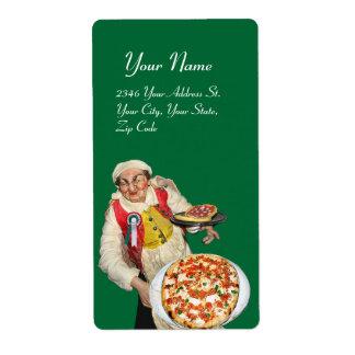 Blanco verde rojo de la PIZZA ITALIANA Etiqueta De Envío