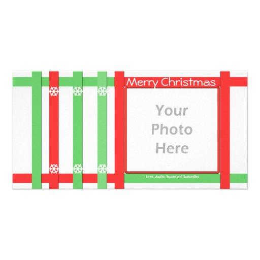 Blanco verde rojo de las Felices Navidad Tarjeta Personal