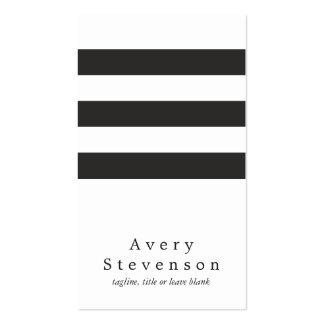 Blanco vertical moderno rayado blanco y negro fres plantilla de tarjeta de visita