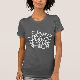Blanco vivo de la elevación del amor camisetas
