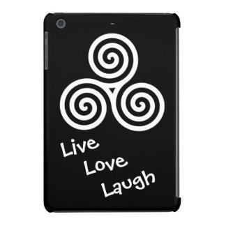Blanco vivo de la risa del amor del espiral triple funda de iPad mini