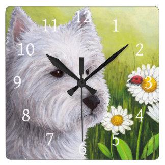 Blanco Westie del perro 83 Reloj Cuadrado