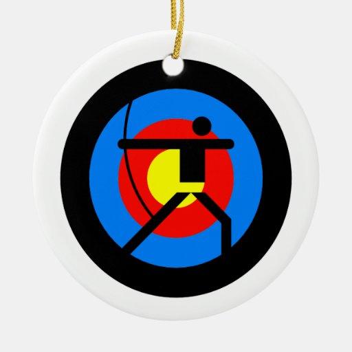 Blanco y Archer del tiro al arco Adornos De Navidad