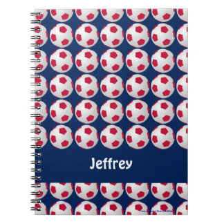 , Blanco, y azul cuaderno personalizado fútbol