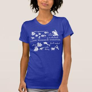 Blanco y azul de la diversión de las vacaciones de camiseta