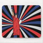Blanco y azul de señora Liberty Red Tapetes De Ratones
