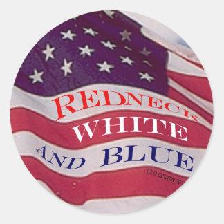Blanco y azul del campesino sureño pegatina redonda