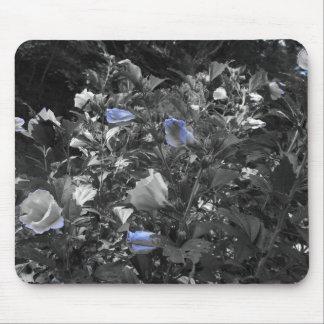 Blanco y azul florece Mousepad Alfombrilla De Raton