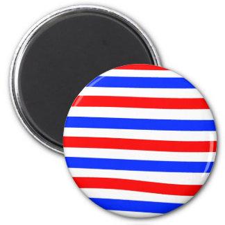Blanco y azul rojos imán redondo 5 cm