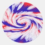 blanco y azul rojos pegatina redonda