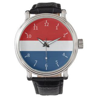 Blanco y azul rojos reloj