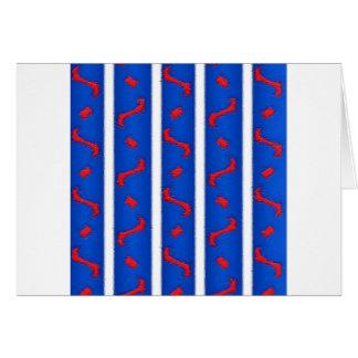 Blanco y azul rojos tarjeta de felicitación