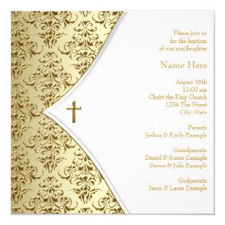 Blanco y bautizo cruzado del oro invitación personalizada