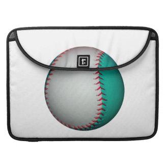 Blanco y béisbol del trullo/softball fundas macbook pro