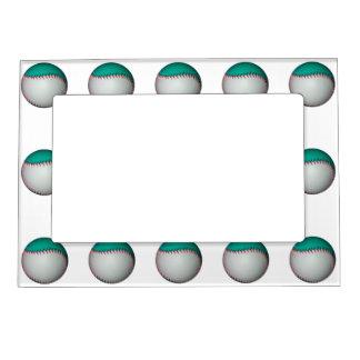 Blanco y béisbol del trullo/softball marcos magneticos para fotos