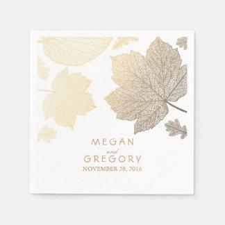 Blanco y boda de la caída de las hojas del oro servilleta desechable