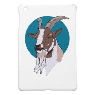 Blanco y cabra de Brown en fondo circular azul