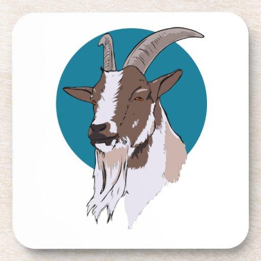 Blanco y cabra de Brown en fondo circular azul Posavasos De Bebidas