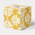 Blanco y caja del favor del boda del damasco del paquetes de regalo