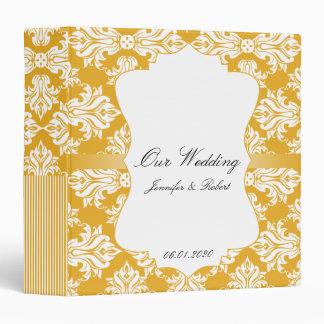 Blanco y carpeta del boda del damasco del girasol