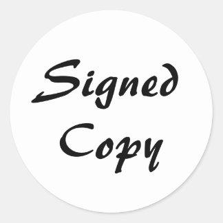 Blanco y copia firmada negro pegatina redonda