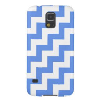 Blanco y Cornflower azules, rayas diagonales del Funda Galaxy S5