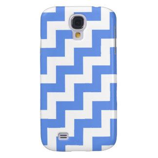 Blanco y Cornflower azules, rayas diagonales del Samsung Galaxy S4 Cover