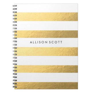 Blanco y cuaderno personalizado oro