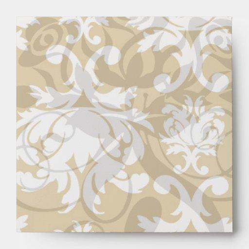 blanco y damasco precioso del royale del oro
