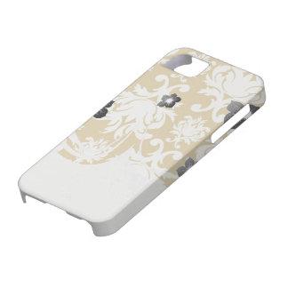 blanco y damasco precioso del royale del oro funda para iPhone 5 barely there