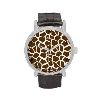 Blanco y estampado de animales de la jirafa de Bro Relojes