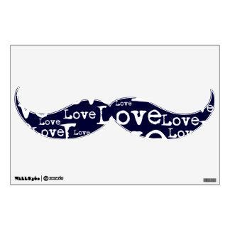 Blanco y etiqueta de la pared del bigote del texto vinilo