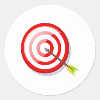 Blanco y flecha del tiro al arco pegatina redonda
