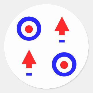 Blanco y flechas de la MOD Pegatina Redonda