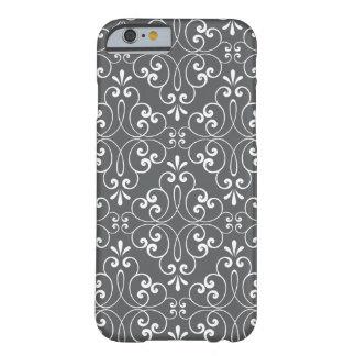 Blanco y gris adornados de moda del modelo del funda de iPhone 6 barely there