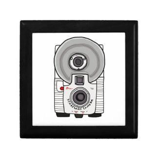 Blanco y gris de la cámara del vintage cajas de recuerdo