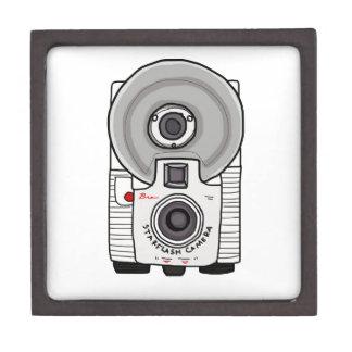 Blanco y gris de la cámara del vintage cajas de recuerdo de calidad