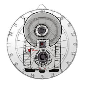 Blanco y gris de la cámara del vintage tablero dardos