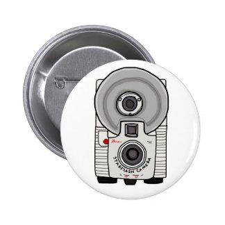 Blanco y gris de la cámara del vintage pin redondo de 2 pulgadas