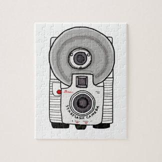 Blanco y gris de la cámara del vintage puzzles