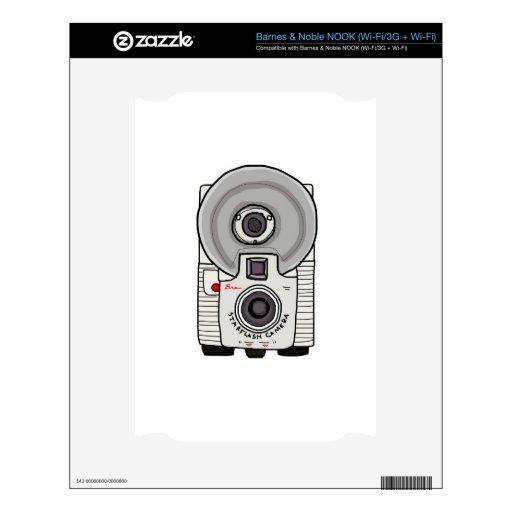 Blanco y gris de la cámara del vintage skins para NOOK