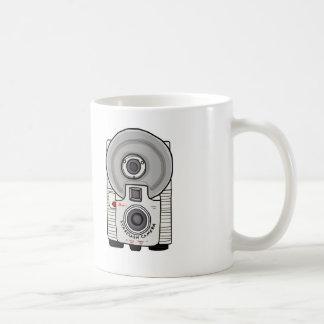 Blanco y gris de la cámara del vintage taza
