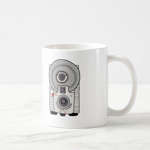 Blanco y gris de la cámara del vintage tazas de café
