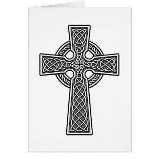 Blanco y gris de la cruz céltica tarjeta de felicitación