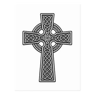 Blanco y gris de la cruz céltica tarjetas postales