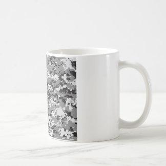 Blanco y gris del negro del camo de Digitaces Taza De Café