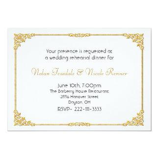 Blanco y invitación de la cena del ensayo del boda